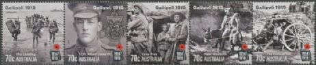 AUS SG4350a Centenary of WWI: Gallipoli 1915 strip of 5